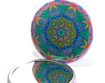 Pocket Mirror Mandala 11, Mandala Mirror, Spring Mirror, Bridesmaid Gift, Party Favor