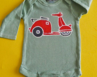 SALE Organic cotton scooter one piece Eco Baby Boys Clothing batik hand painted & hand dyed long sleeve bodysuit light green 3 to 24 months