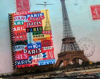 Paris Paris Spiral Bound Travel Journal, Writing, Pocket Blank Sketchbook, Back to School Notebook, A6, Travel Gifts, Gifts Under 15