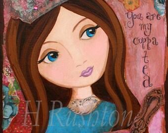 Children Decor-Princess Wall Art Shabby Chic  Mixed Media Art Print 8x10