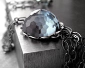 Slate Blue Crystal Necklace - Light Montana Blue Geodesic Dome Vintage Swarovski Crystal Pendant Necklace, Black Chain - Window to the Soul