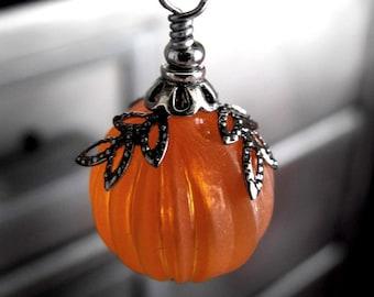 SALE: Gothic Orange Pumpkin Necklace, Dark Goth Halloween Jewelry, Wicked Red Orange Pumpkin Pendant, Long Black Gunmetal Chain, Teen Gift