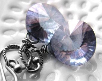 Blue Gemstone Earrings, Blue Teardrop Earrings, Lilac Violet Blue Quartz Gemstone Earrings, Blue Faceted Gemstone, Oxidized Sterling Silver