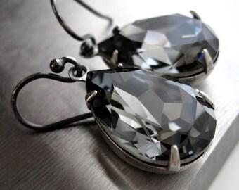 Black Night Crystal Teardrop Earrings - Grey Gray Swarovski Crystal, Bridesmaid Earrings, Bridal Jewelry, Formal Evening Wedding Jewelry