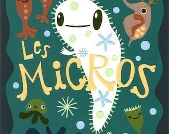 Print: Les Micros - illustration microbe daphnia biology green paper cutout art wall decor