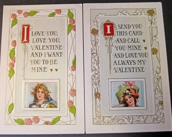 2 Vintage Valentine Postcards Romantic Floral Borders