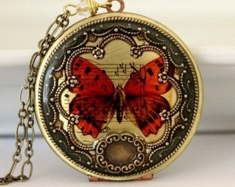 Spring Butterfly Locket, Personalized Necklace, Mother's Day Jewelry, Women's Jewelry, Spring Fashion, Mom Gift, Wife Gift, Gift For Her