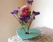 Happy Valentine's Day Vase . Doily Lace Ceramic Pottery Vase