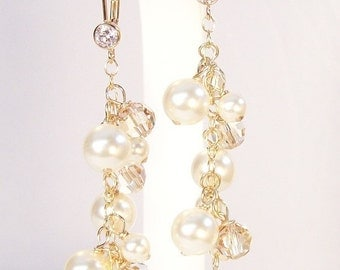 Cream & Champagne Bridal Earrings, Long Chandelier Earrings, Crystal Chadelier Earrings w/ CZ Leverbacks, ivory, off white, soft ivory white