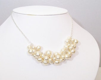 Pearl Bubble Necklace, Bridal Necklace, Cream Cluster Ivory Pearls, Wedding Bauble Jewelry, bib, off white diamond white, Soft White