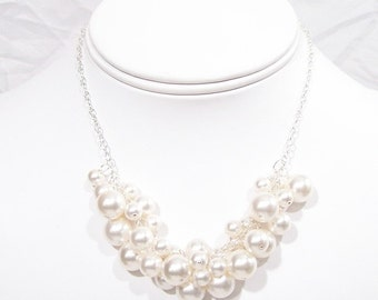White Pearl Cluster Wedding Necklace, Bib bauble Bridal Jewelry, diamond white, bubble necklace, full jewelry neckline