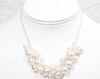 White Pearl Cluster Wedding Necklace, Bib bauble Bridal Jewelry, diamond white, bubble necklace, full jewelry neckline