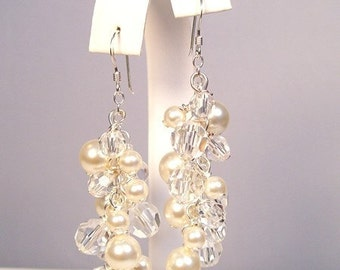 Cream & Crystal Bridal Earrings, Full Chandelier Pearls and Crystals, Long Cluster Bridal Jewelry, off white, soft ivory, diamond white