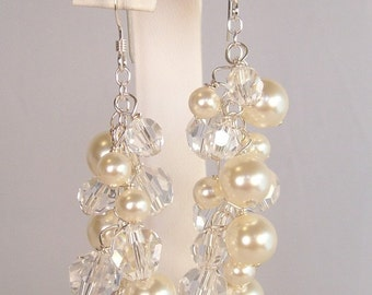 Ivory & Clear Crystal Cluster Chandelier Earrings, Bridal Wedding Long Full Jewelry, soft ivory, cream, butter, off white, diamond white