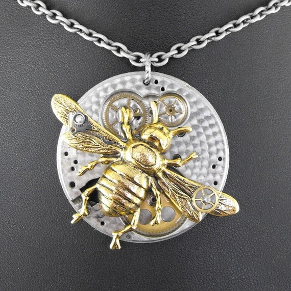 Honey Bee Steampunk Necklace - Flight of the Mechanical Bumblebee by COGnitive Creations