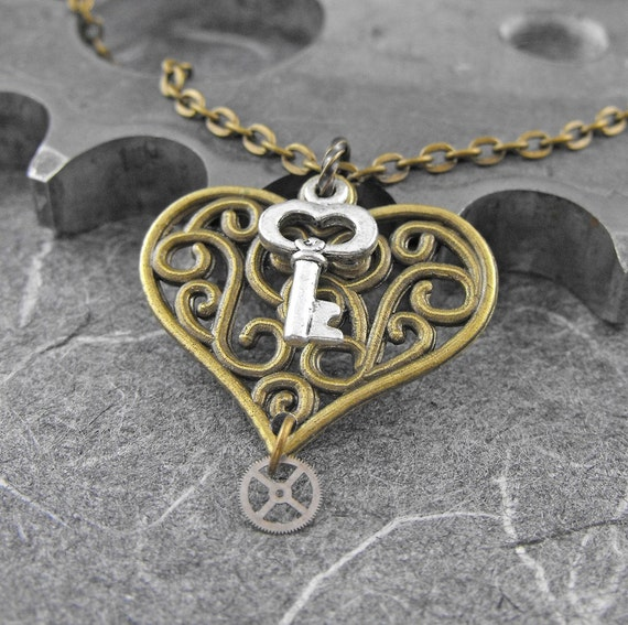 Steampunk Heart Key Brass Necklace - You Hold the Key to My Golden Heart by COGnitive Creations