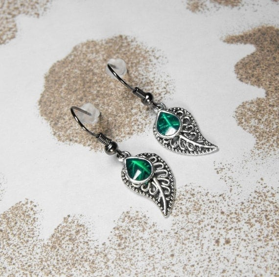 Emerald Green on Silver Leaves Earrings - Green Tears of Nature by COGnitive Creations