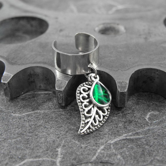 Emerald Green on Silver Leaf Ear Cuff - Green Tear of Nature by COGnitive Creations