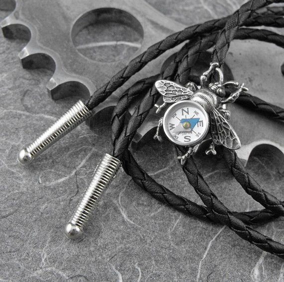 Steampunk Compass Bee Western Bolo Tie - Flight of the Travelling Bumblebee by COGnitive Creations