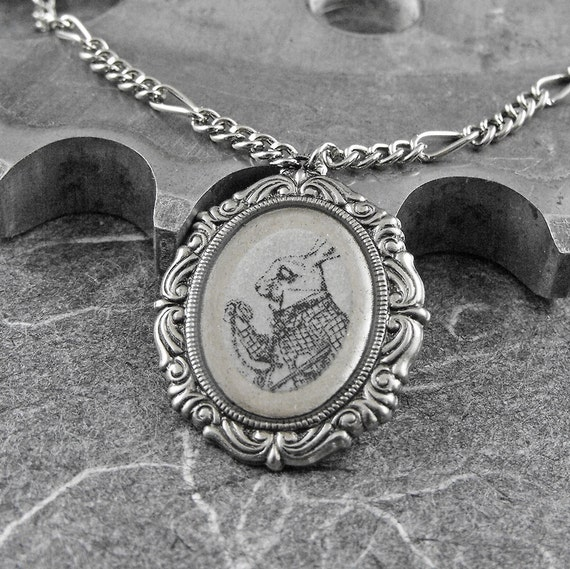 Alice in Wonderland White Rabbit Silver Necklace - The White Rabbit's Flair by COGnitive Creations