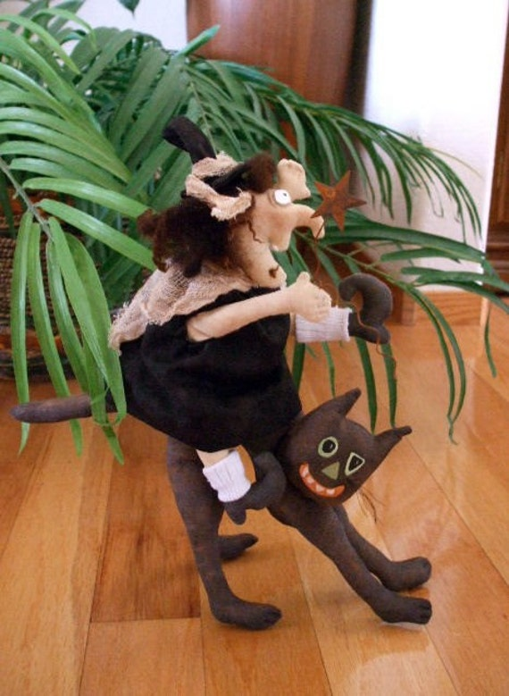 Sewing Pattern Primitive Halloween Witch Riding a Cat  PDF Instant Download