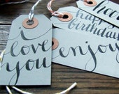 everyday gray calligraphy gift tags, package of 7 hand lettered gift wrapping tags