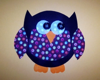 Fabric Applique PDF TEMPLATE Pattern ONLY Owl
