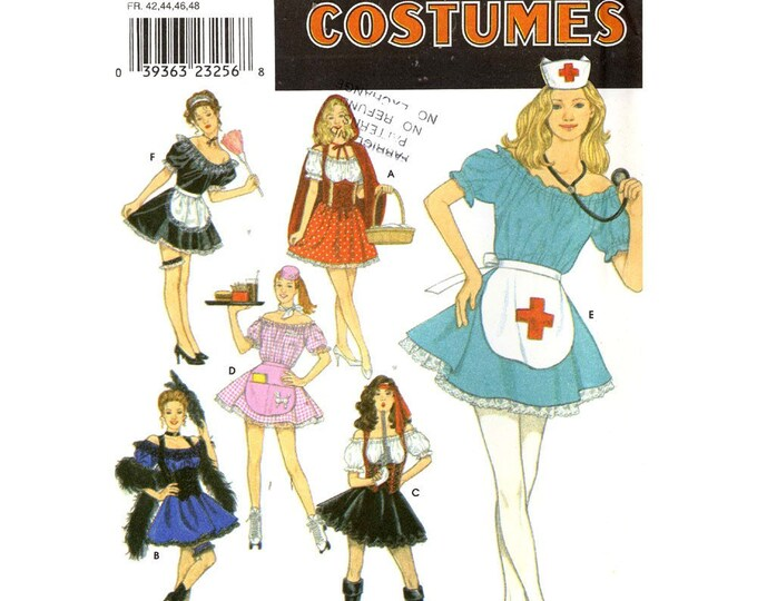 90s costume pattern Nurse Car hop Can Can Burlesque French maid costumes Simplicity 8851 sewing pattern UNCUT Sz 6 to 12