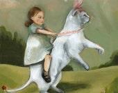 whimsical animal art- children's room- Eunice - Cat art-