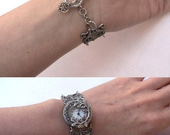 Silver watch women watches vintage Gothic watch filigree Victorian Jewelry Unique Watches Silver Floral Watch gothic jewelry gift mom