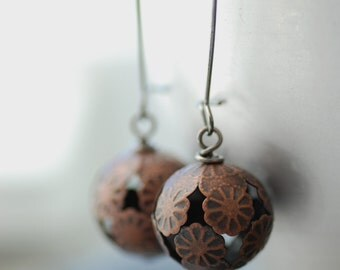 Copper Earrings, Filigree Earrings, Rustic Jewelry, Floral Jewelry, Drop Earrings, Rustic Wedding -  Forgotten Path
