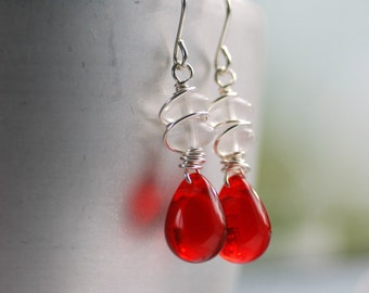 Red and White Earrings, Wirework Earrings, Candy Cane Earrings, White Frosted Glass, Red Glass and Wire Wrapped Sterling Silver, LAST PAIR