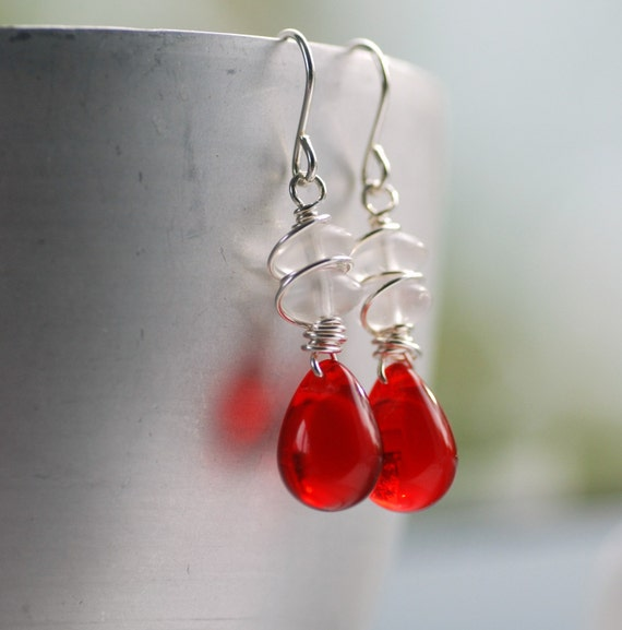 Red and White Earrings, Wirework Earrings, Candy Cane Earrings, White Frosted Glass, Red Polished Glass and Wire Wrapped Sterling Silver