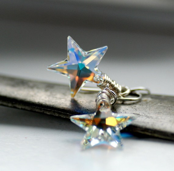 Crystal Star Earrings, Swarovski Elements, Celestial Jewelry, Northern Lights, Constellations, Aurora Borealis, Sparkly Earrings - Wish
