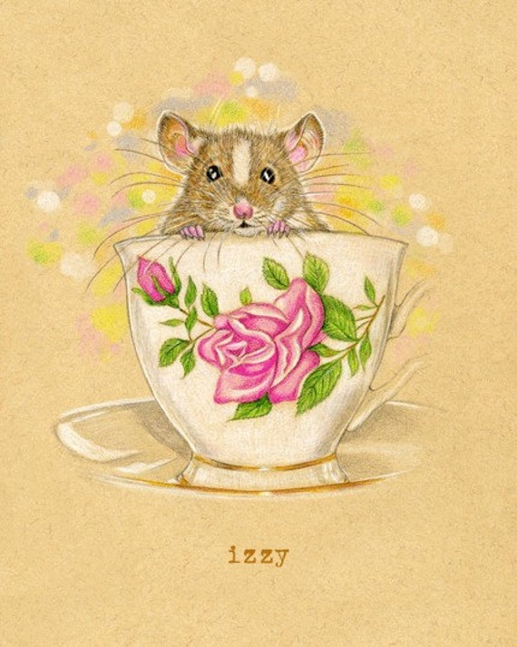Art Print Mouse Tea Cup Izzy 8 x 10 inches can be personalized does NOT come framed