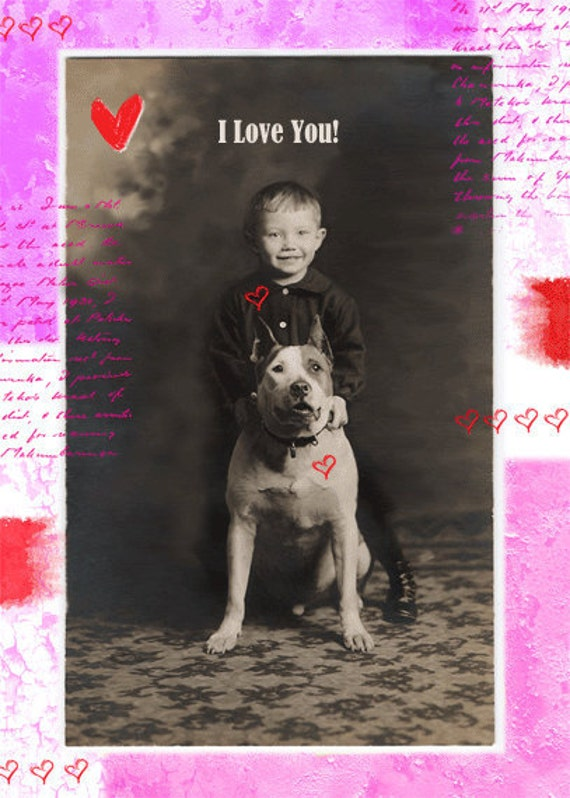 Pit Bull I Love You Greeting card 5 x 7 inches