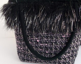 Fur Trimmed Handbag , Winter Handbag , Tweed Purse , Over the Shoulder Bag for Women , Black Fur Trimmed Purse , Gift for Her , Under 50