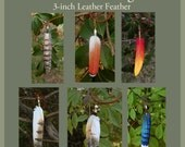 CUSTOM - 3-inch Leather Feather Pendant - Bird Feather Necklace