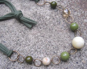 Eco-Friendly T Shirt Yarn Necklace - Peace - Recycled Olive Green Yarn and Vintage Beads in  Sage, Cream and Pale Topaz
