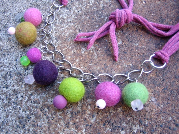 Eco-Friendly T Shirt Yarn Necklace - Joie de Vivre - with Recycled Vintage Chain, Plastic & Felted Wool Beads in Pink, Purple and Green