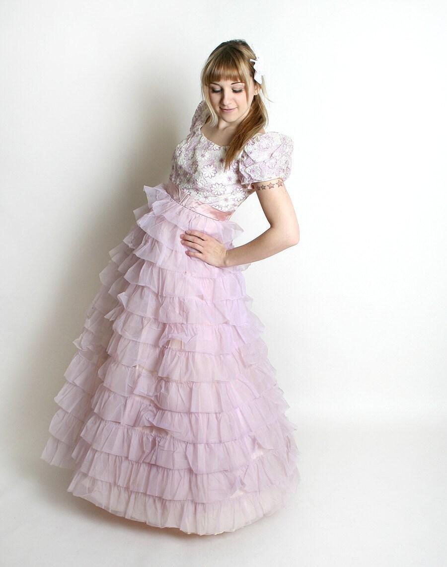 Vintage Wedding Dresses Pink : Vintage wedding dress s nadine pretty pink lavender pastel