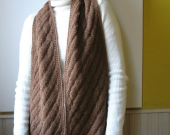 Natural Brown Llama Yarn Hand Knitted Scarf, Winter Wrap Shawl Woman Long Scarf, Neck Warmer Llama Unisex Scarf, Mens Scarves, Gifts For Him