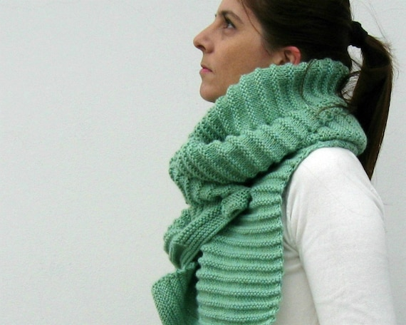 Mint Green Scarf Knitted