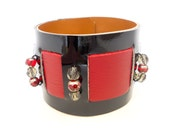 Black Patent Leather and Red Leather Beaded Cuff Bracelet, Handmade Leather Jewelry, Women's Leather Accessories