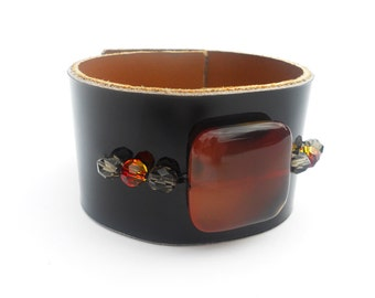 Black Patent Leather Cuff Bracelet with Amber Stone Bead, Handmade Leather Jewelry, Women's Leather Accessories