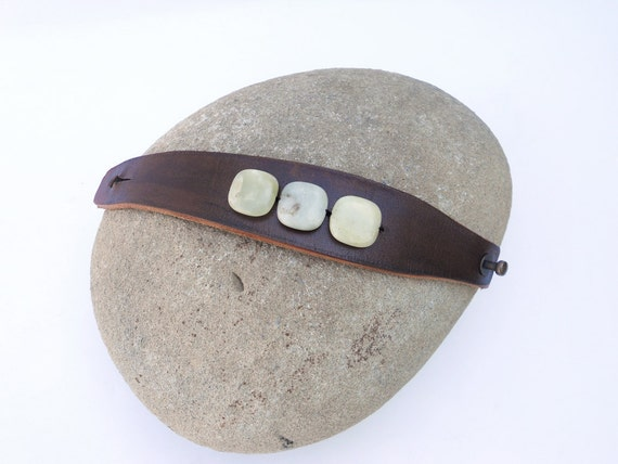 Women's Brown Leather Cuff Bracelet with Jade Stone Beads, Handmade Leather Jewelry, Leather Accessories