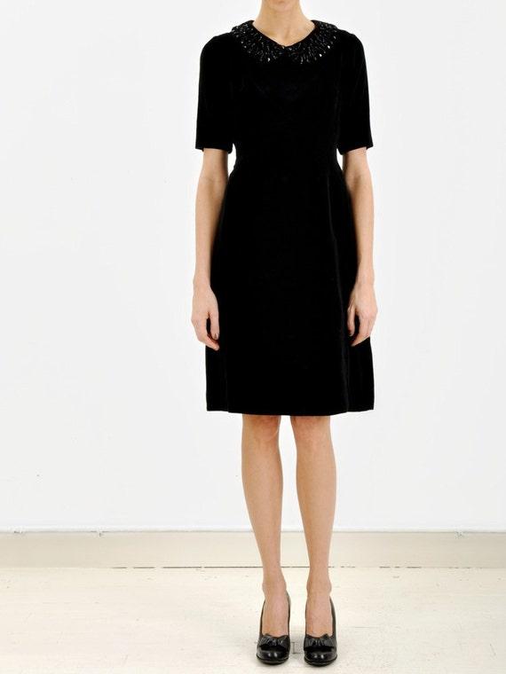 SALE - Jewelled Collar Velvet Dress