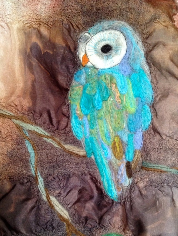 Silk Scarf - Owl on a Limb - Beautiful Needle Felted Handpainted and Stitched Scarf by Val's Art Studio