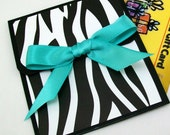 Gift Card Holder - Zebra Gift Card Holder - Homemade Birthday Gift Card Holder in Animal Print - Black and White with Aqua Bow