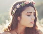 Bridal flower crown, Pink floral wreath, Flower crown, Boho Rose Circlet, Woodland hair crown, wedding head piece - SECRET GARDEN